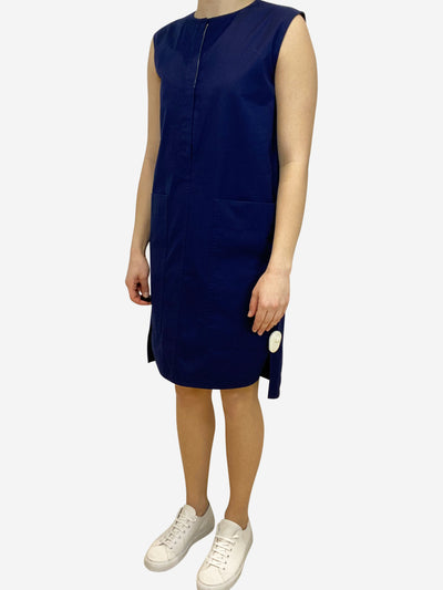 Navy sleeveless cotton tunic dress with pockets- size UK 8