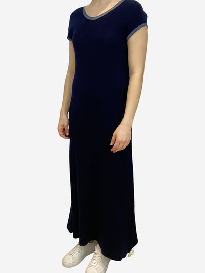 Navy maxi dress with silver trim - size M