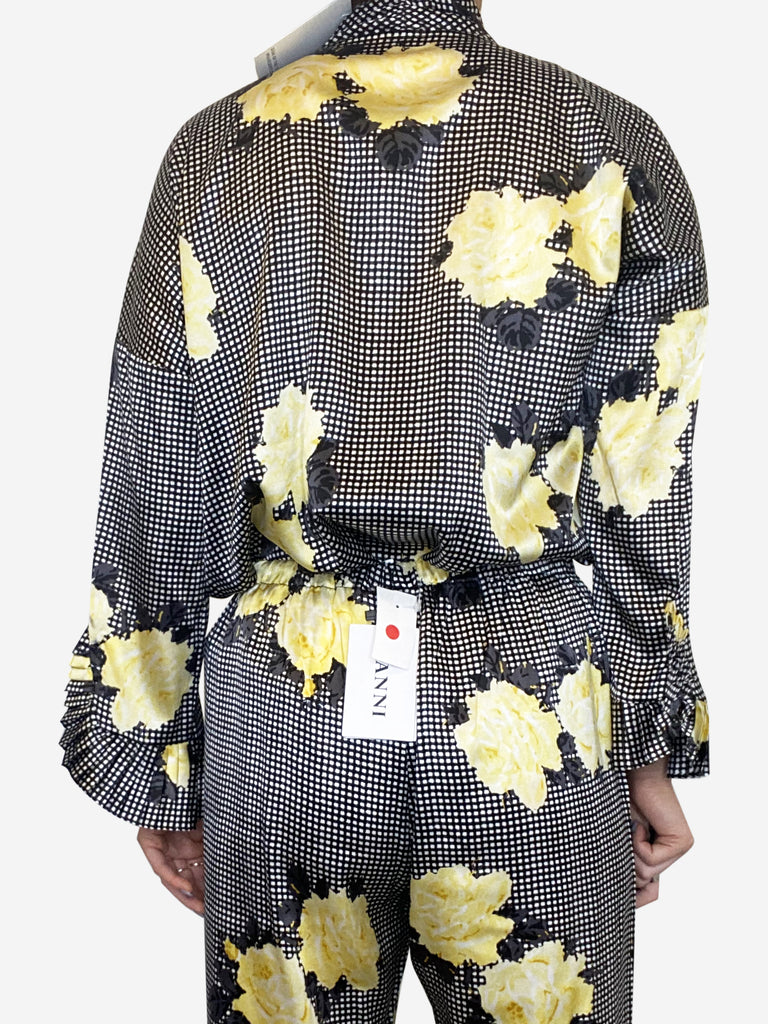 Yellow, black and white floral check pussy bow blouse - size DK 36