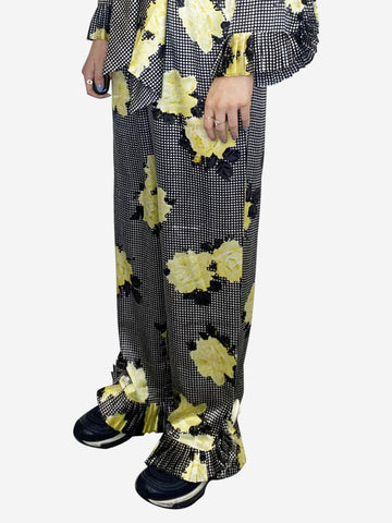 Yellow, black and white ruffle-trimmed floral trousers - size DK 36