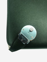 Load image into Gallery viewer, Green A5 leather writing folder with lock