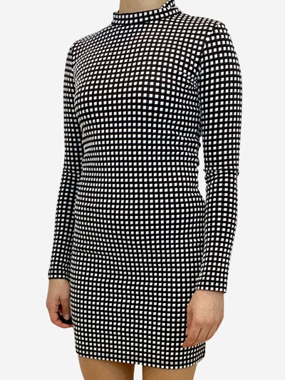 Black and white plaid long sleeve mini dress- size UK 10