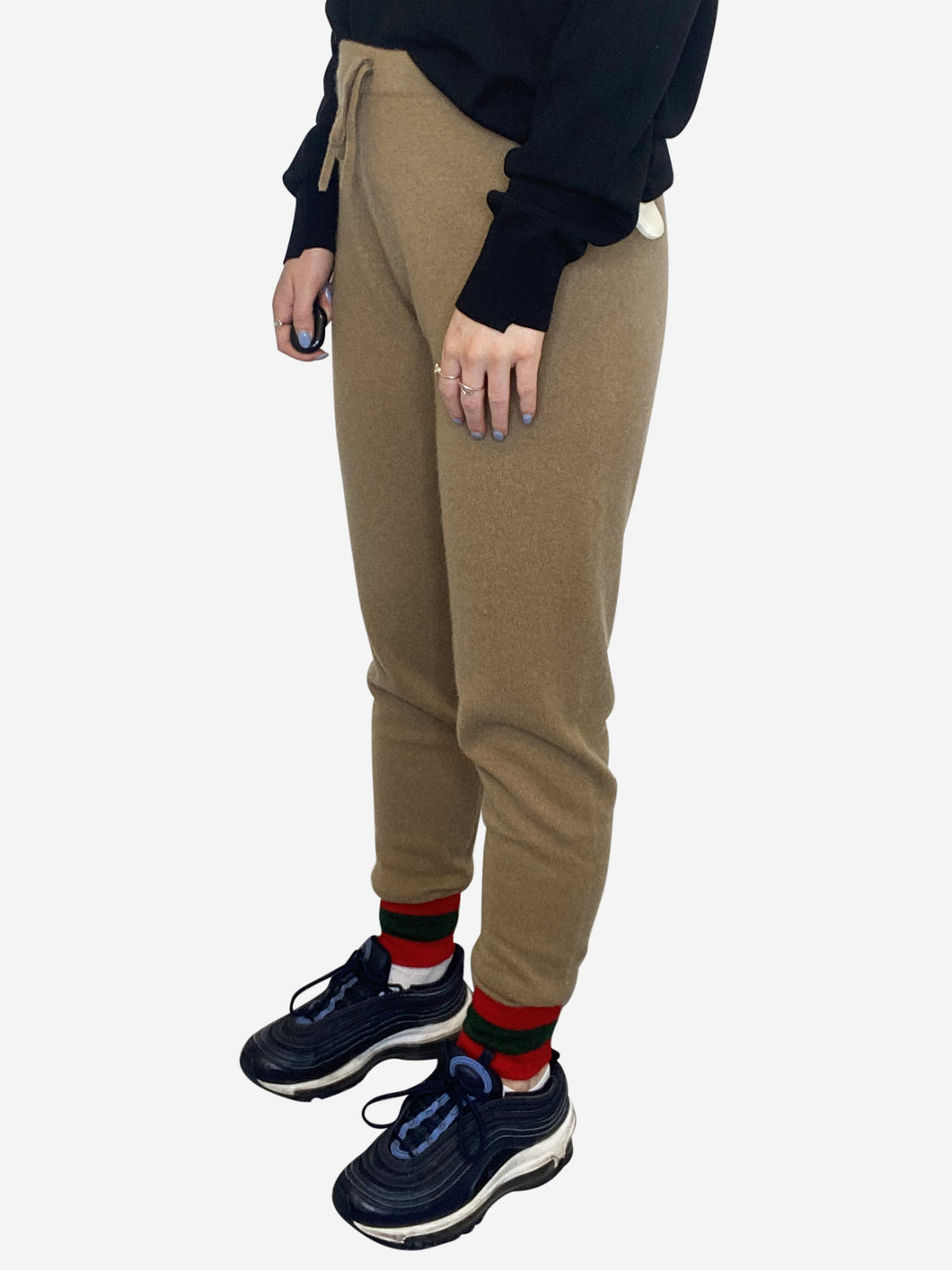 Beige cashmere trousers with red and green striped cuff - size S