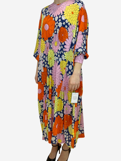 Multicoloured floral print maxi dress with bat wing sleeves- size UK 12