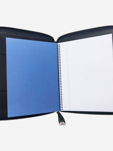 Smythson Green A5 leather writing folder with lock