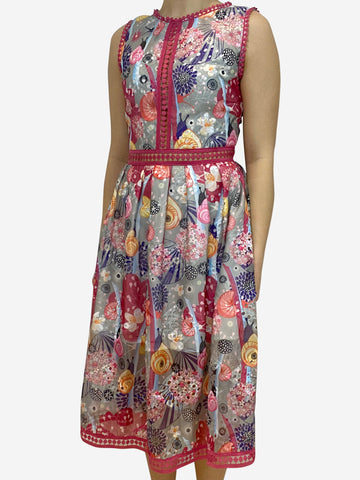 Pink floral print mesh dress with lace trim- size UK 10