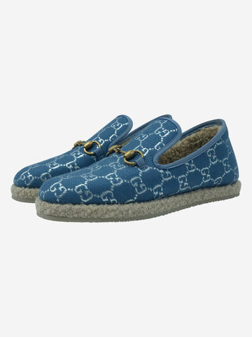 Blue shearling lined espadrilles - size EU 38