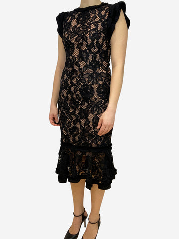 Black lace fishtail dress with beige lining- size S