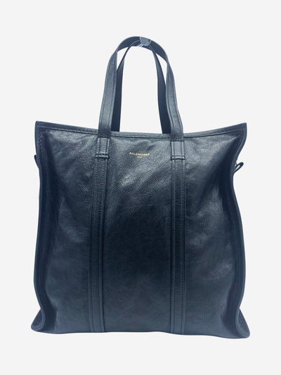 Black creased-leather tote bag