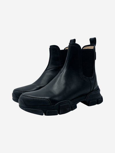 Black Leon chunky sole leather Chelsea boots - size EU 38.5