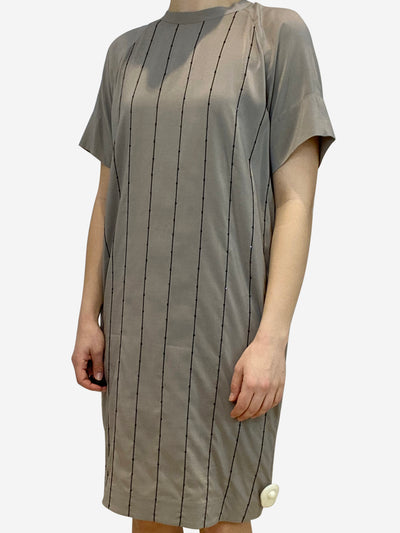 Taupe tunic dress in silk with bead stripe accents- size M