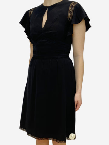 Short sleeve black dress with lace trim- size UK 8