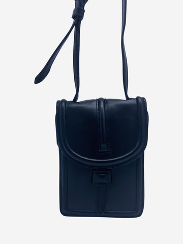 Black leather phone holder crossbody