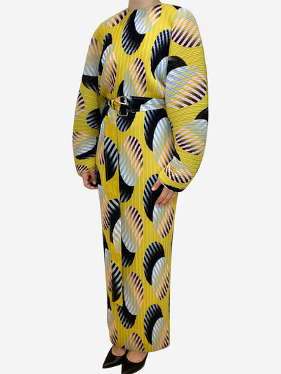 Yellow pleated belted print maxi dress- size UK 6