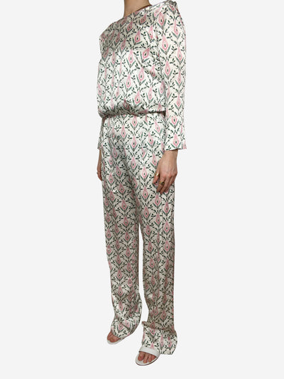 White, pink & green floral long sleeve jumpsuit - size S