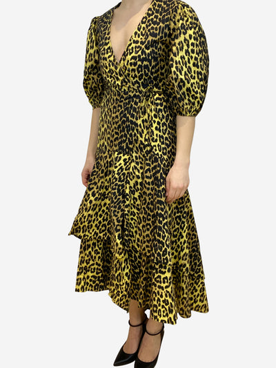 Yellow leopard print puff sleeve wrap midi dress- size UK 6