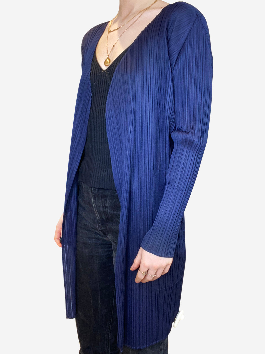 Navy pleated jacket - size L