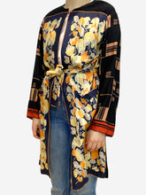 Load image into Gallery viewer, Black & peach printed kimono - size UK 8