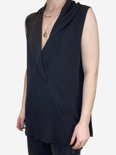 Black sleeveless mock neck blouse - size L