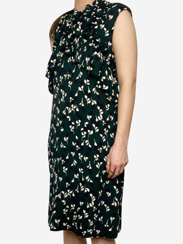 Green & black floral frill detail dress - size IT 38
