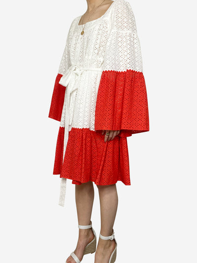 White & red broderie anglais belted dress - size M