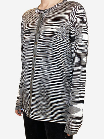 Black & white striped button through cardigan - size IT 48