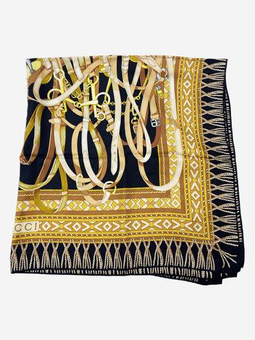 Yellow, brown and black silk scarf