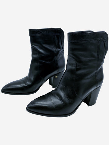 Black leather heeled boots with CC logo - size EU 38