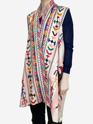Cream and multicoloured embroidered tunic - size FR 40