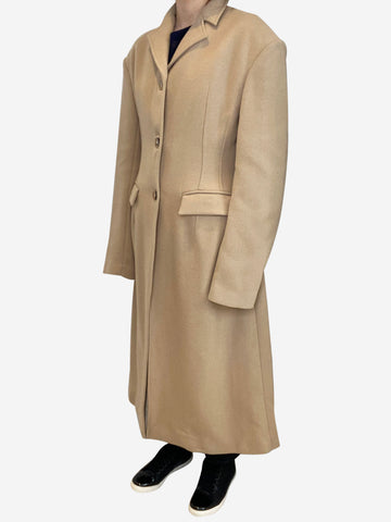 Beige oversized shoulder single breasted coat - size UK 8