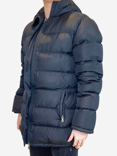 Black elasticated waist hooded puffer jacket - size IT 40