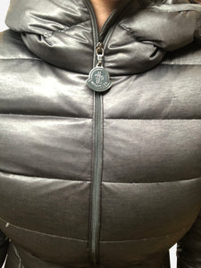 Moncler Grey hooded puffer jacket - size XS