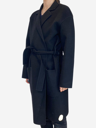Black cashmere belted coat - size IT 44