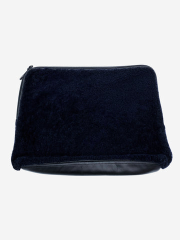Black leather and shearling laptop case
