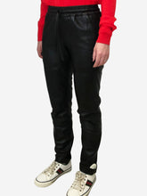 Load image into Gallery viewer, Black leather tie waist joggers - size 6