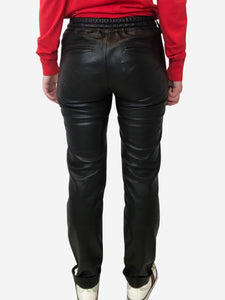 Black leather tie waist joggers - size 6