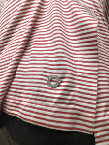 Red and white breton stripe silk t-shirt - size S
