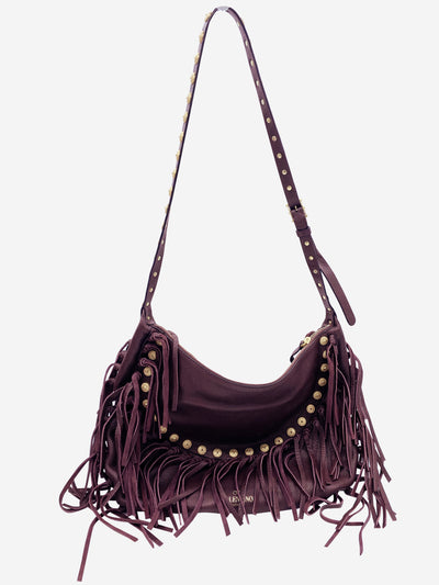 C-Rockee burgundy studded fringe cross body bag
