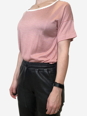 Red and white stripped t shirt - size s