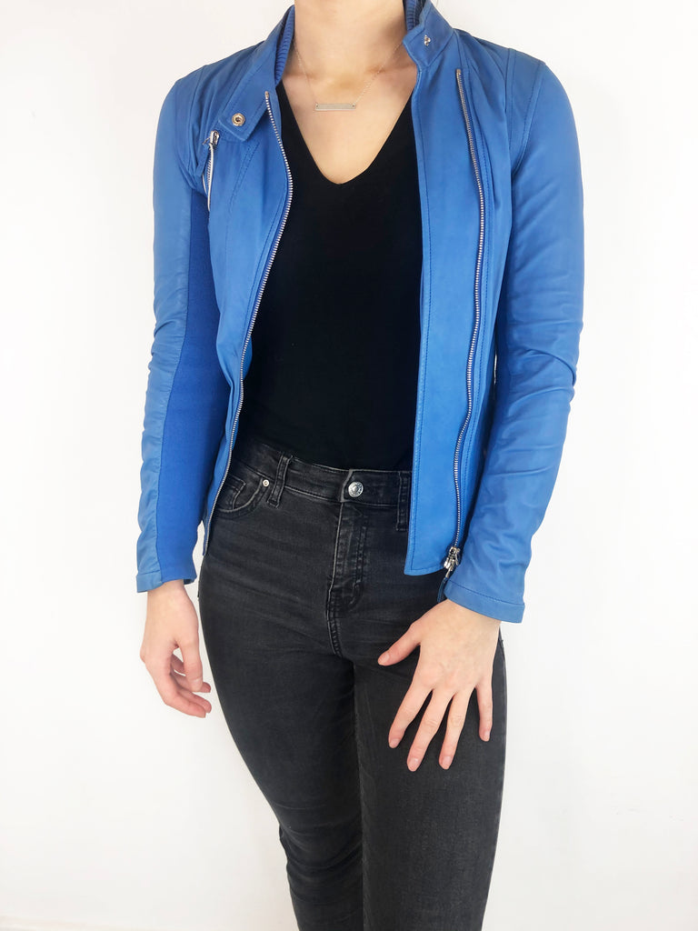 Gucci Blue Leather Jacket Size 8 RRP £1,800 Gucci - Timpanys