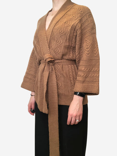 Camel coloured wrap cardigan with belt in alpaca wool- size S