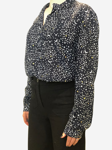 Navy & White Starry night print blouse - size 12