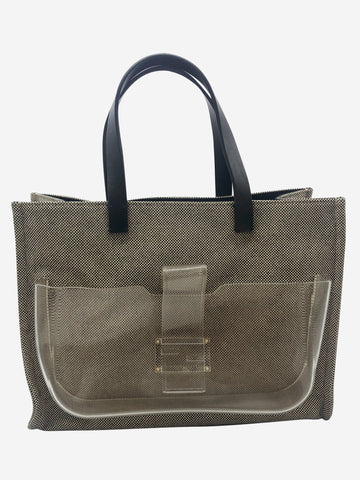 Black & beige canvas bag with clear front pocket