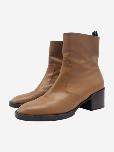 Tan leather ankle boots - size EU 40