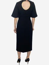 Load image into Gallery viewer, Black short sleeved black with pink detail and open back midi dress - size 10