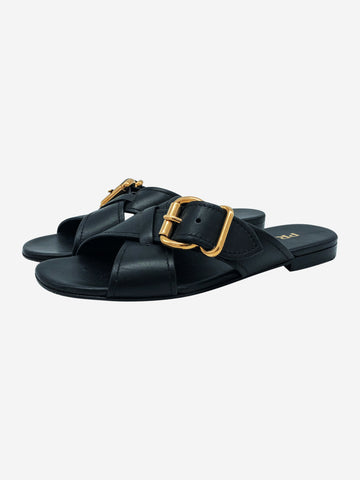 Black crossover strap sandals with gold buckle - size EU 38.5