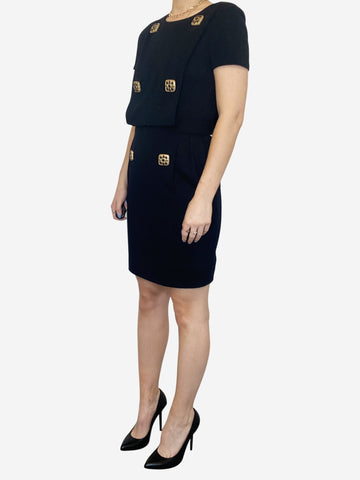 Black short sleeve mini dress with gold square buttons - size FR 36