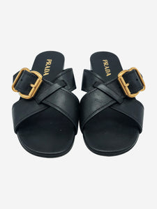 Prada Black crossover strap sandals with gold buckle - size EU 38.5