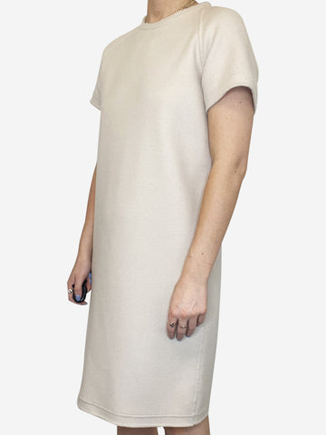 Beige short sleeve wool dress - size S
