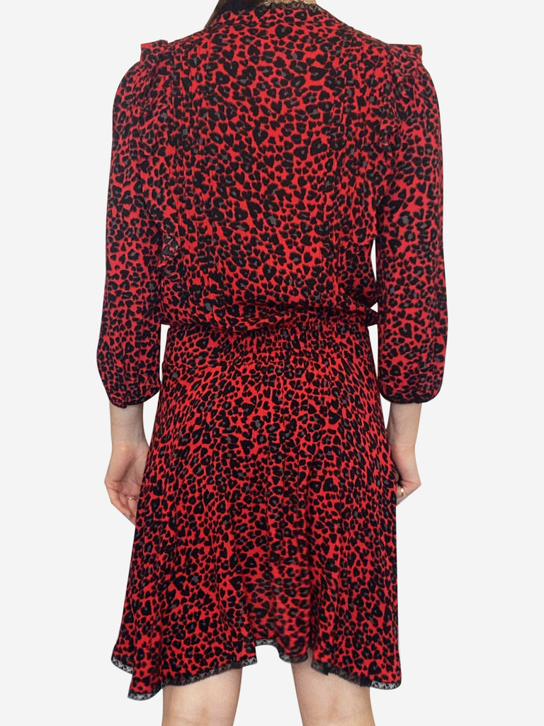 Remo leo red and black leopard print dress - size XS